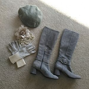 DONALD PLINER/CAYE- GRAY SUEDE TALL BOOTS/ NEW